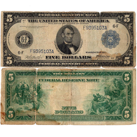 1914 $5 Federal Reserve Bank of Atlanta Note Fr. 864 - Very Good