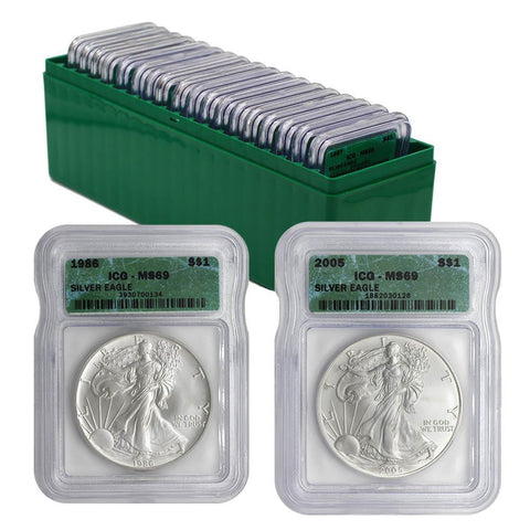 1986-2005 Certified American Silver Eagle Set - ICG MS 69