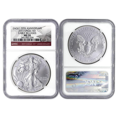 "2011 ""25th Anniversary"" Silver Eagle - NGC MS70 ""Early Release"""