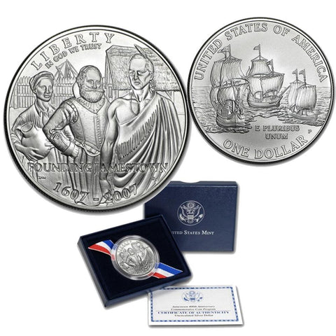 2007 Unc. 400th Anniversary Jamestown Commemorative Coin w/ OGP & COA