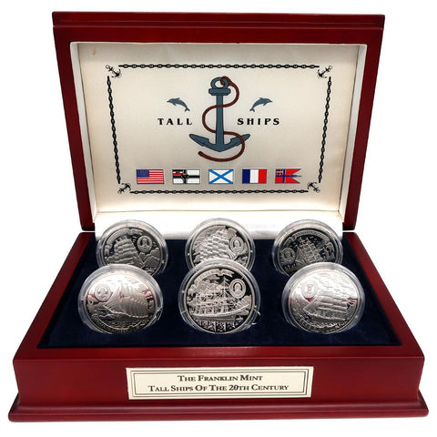 The Franklin Mint Tall Ships Of The 20th Century Six Silver Coin Set w/ Deluxe Franklin Mint Display Case