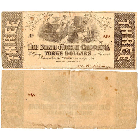 1863 $3 State of North Carolina Note - Cr. 125 - Apparent Very Fine