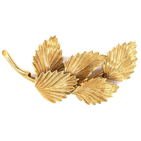 Vintage Tiffany & Co. Solid 14K Gold Retro Deco Signed Feather Brooch