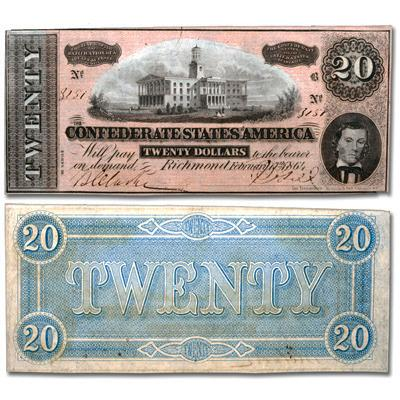 T-67 (Red) 1864 $20 Confederate States of America Notes Deal - Very Fine