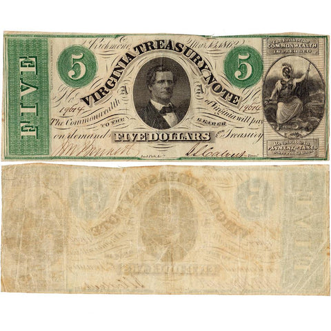 1862 $5 Virginia Treasury Note Cr.13 ~ Very Fine