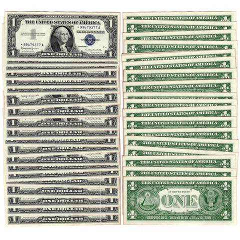 20 Consecutive 1957-B $1 Silver Certificate Star Notes - Crisp Uncirculated