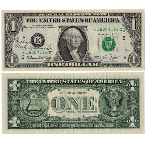 1974  $1 Richmond Federal Reserve Note Fr.1908-E - Very Fine w/ David M. Kennedy Signature