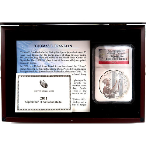 Franklin Mint Vault Collection 9/11 10th Anniversary 2011-W Silver Medal Coin NGC-PF 69