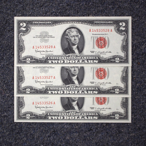 3 Consecutive 1963 $2 Red Seal Legal Tender Notes - Uncirculated