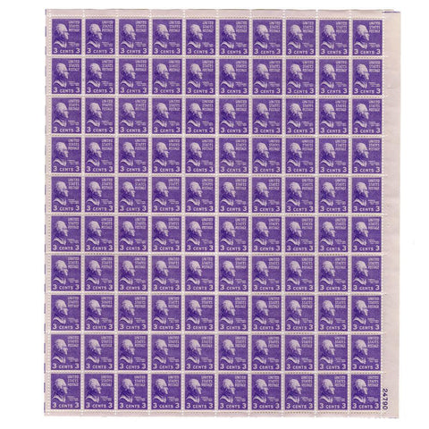 1938 3 Cent Scott# 807 Thomas Jefferson Stamp Sheet
