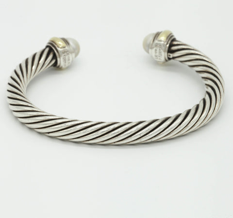 David Yurman Sterling Silver/14K Gold - Pearl Cable Bracelet