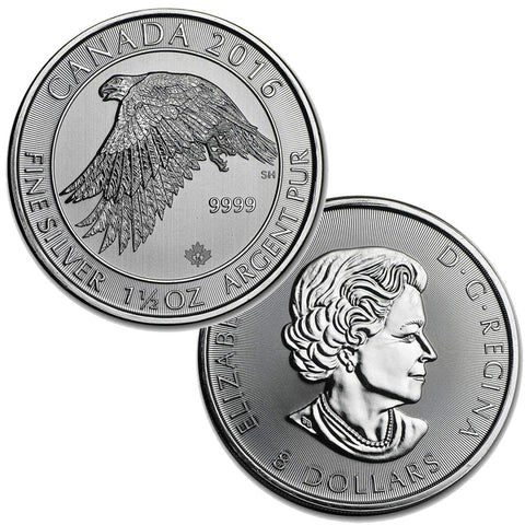 2016 Canada Silver 8 Dollars White Falcon 1.5 oz .9999 Silver - Gem Brilliant Uncirculated