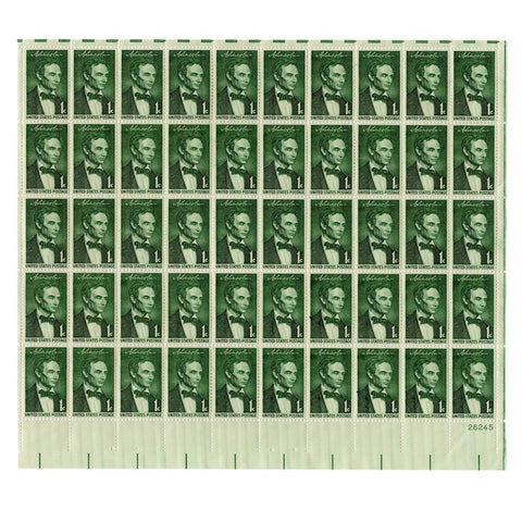 1958 1 Cent Scott# 1113 Lincoln by George Healy Stamp Sheet