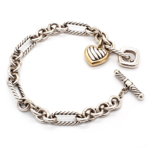 David Yurman Sterling Silver & 18K Gold Figaro Cable & Heart Charm Bracelet
