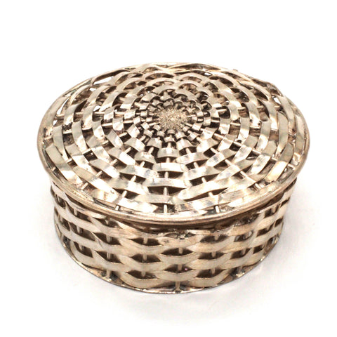 Beautifully Crafted & Woven Mexico Sterling Silver Pill Basket