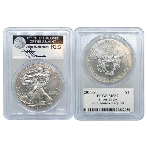 "2011-S Silver Eagle - PCGS MS69 ""25th Anniversary Set"" Mercanti Signature"
