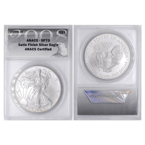 "2008-W Silver Eagle Satin Finish"" - ANACS SP70"