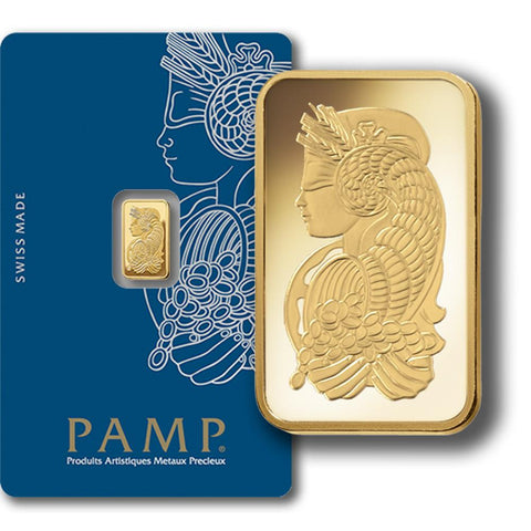 1 gram PAMP Suisse Fortuna .9999 Gold Bars in VeriScan Assay Card