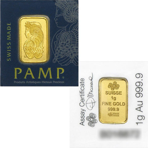 1 gram PAMP Suisse Fortuna .9999 Gold Bars in Multigram Assay Card