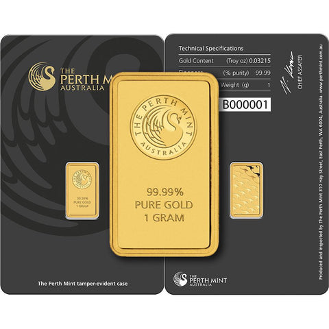 1 gram Perth Mint Kangaroo .9999 Gold Bars in Assay Card