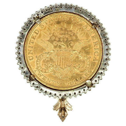 1896 $20 Liberty Double Eagle Gold Coin in 14K Gold & Diamond Bezel - About Uncirculated