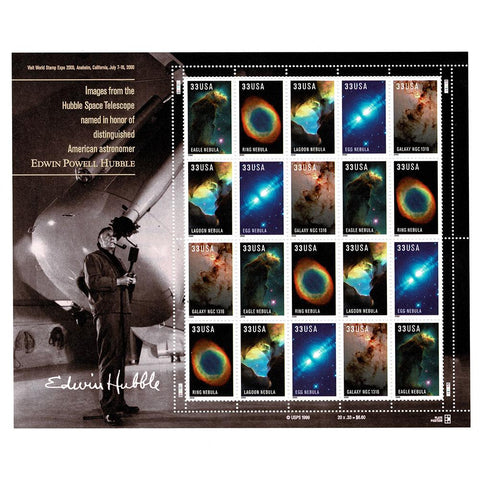 2000 33c Scott #3384-88 Edwin Powell Hubble Sheet (20) MNH