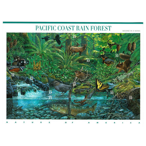 2000 33c Scott #3378 Pacific Coast Rain Forest Sheet (10) MNH