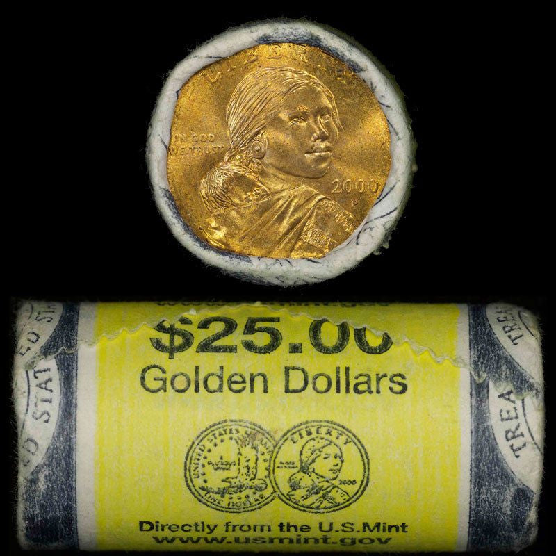 2000 D $25 SACAGAWEA DOLLAR GOVERNMENT YELLOW WRAPPED 25 COIN ROLL CH BU