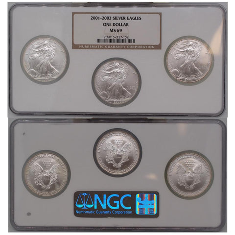 2001-2003 Certified Silver Eagle Set NGC - MS69
