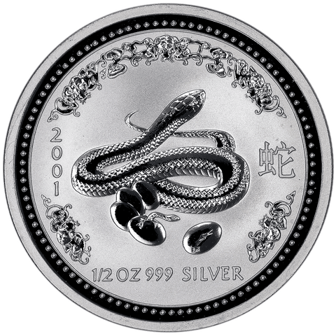 2001 Australia 50C Silver Year of the Snake 1/2 oz .999 Silver KM.1880 - Gem Brilliant Uncirculated (In Flip)