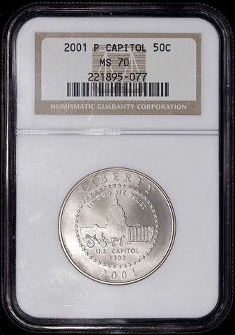 2001-P Capitol Commemorative Half ~ NGC MS 70