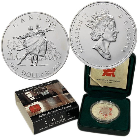 2001 Canada National Ballet Proof Silver Dollar - Gem Proof in OGP