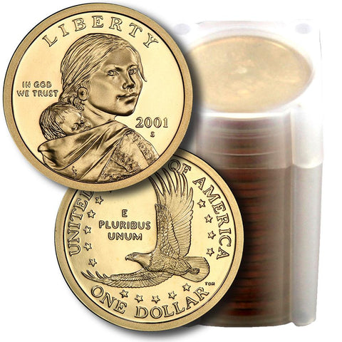 25-Coin Roll of 2001-S Proof Sacagawea Dollars - Directly From Proof Sets