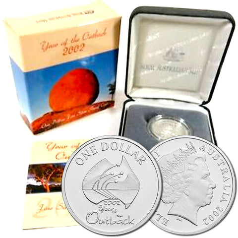 "2002 Australia ""Year of the Outback"" Proof Silver Dollar KM. 600.1a - Gem Proof in OGP"