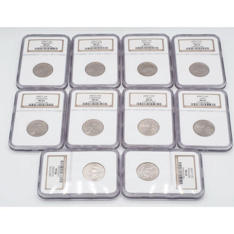 Set of 10 Certified 2002 P & D Statehood Quarters - NGC MS-66