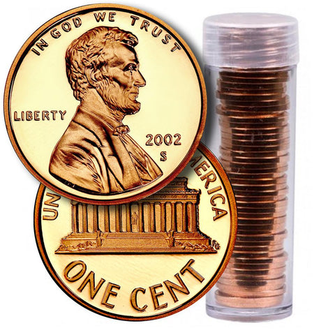 50-Coin Roll of 2002-S Lincoln Cents - Directly From Proof Sets