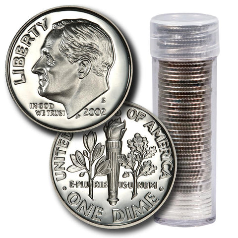 50-Coin Roll of 2002-S Proof Silver Roosevelt Dimes - Directly From Proof Sets