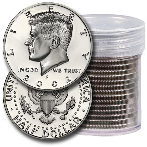 20-Coin Roll of 2002-S Proof Silver Kennedy Half Dollars - Directly From Proof Sets