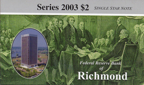 2003 $2 Federal Reserve Star Note Richmond District - E00011824*