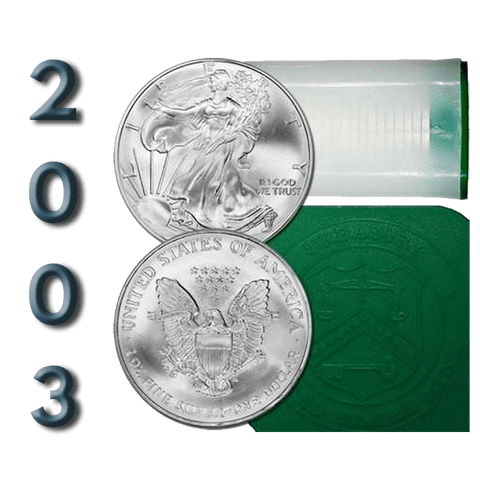 2003 American Silver Eagles, Original Mint Roll of 20 Coins