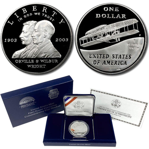 2003-P First Flight Proof Commemorative Silver Dollar in OGP w/ COA