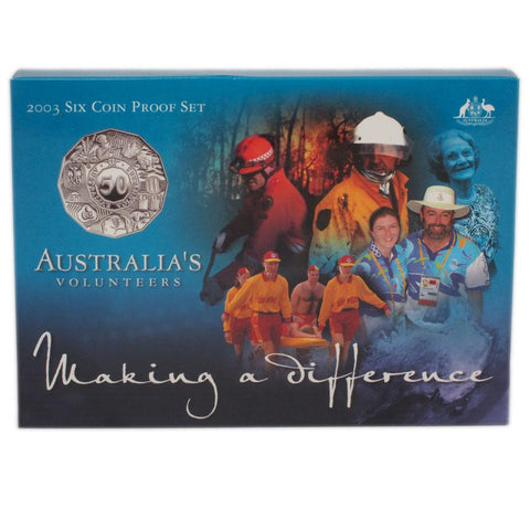 "2003 Royal Australian Mint Six Coin Proof Set ""Australia's Volunteers"" - Gem Proof in OGP"