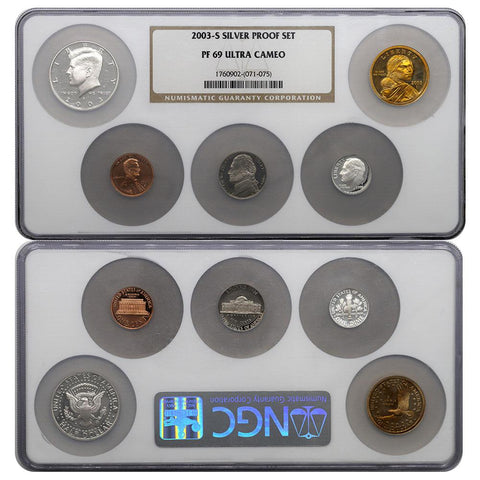 2003-S Silver Proof Set - NGC PF69 Ultra Cameo 5 Coin Set