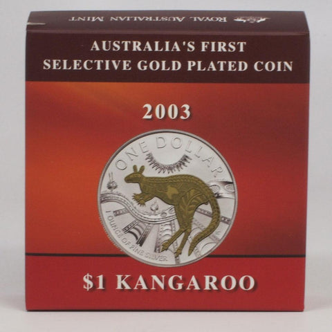 "2003 1oz Silver Kangaroo ""Australia's First Selective Gold Plated Coin"" - PQBU w/ OGP and COA"