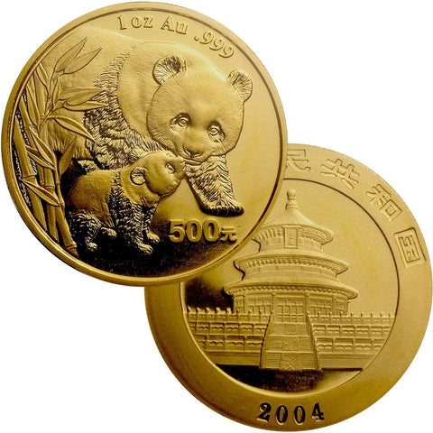 2004 500 Yuan 1 oz Gold Panda - Gem Uncirculated in Mint Plastic