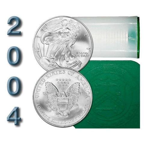 20-Coin Roll of 2004 American Silver Eagles - Crisp Original BU