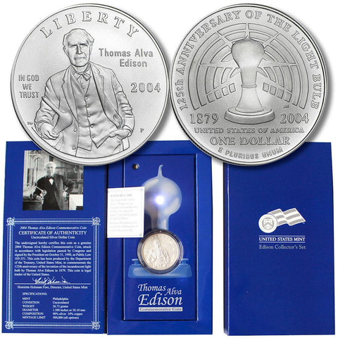 2004 Thomas Edison Collectors Set w/ Silver Dollar Commemorative in OGP