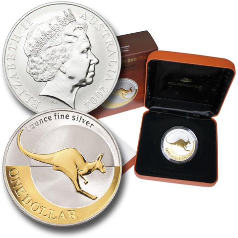 2004 $1 Selectively Gold Plated Silver Kangaroo 1 oz .9999 Silver in OGP w/ COA