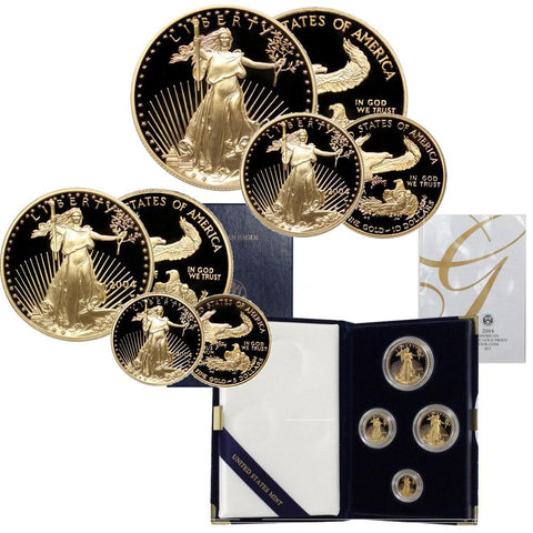 2004-W 4-Coin Proof Gold American Eagle Set in Box with COA (1.85 AGW)