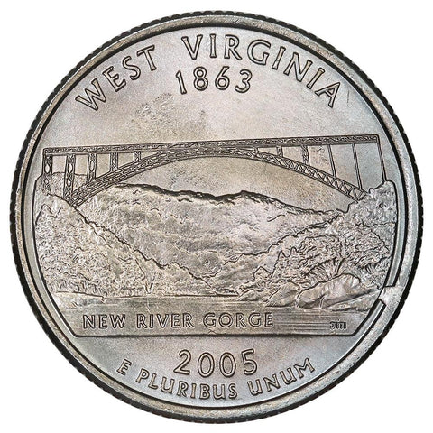 2005-P West Virginia State Quarter - Retained Cud/Die Break - Uncirculated